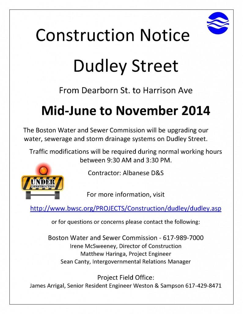 Dudley St Construction Notice